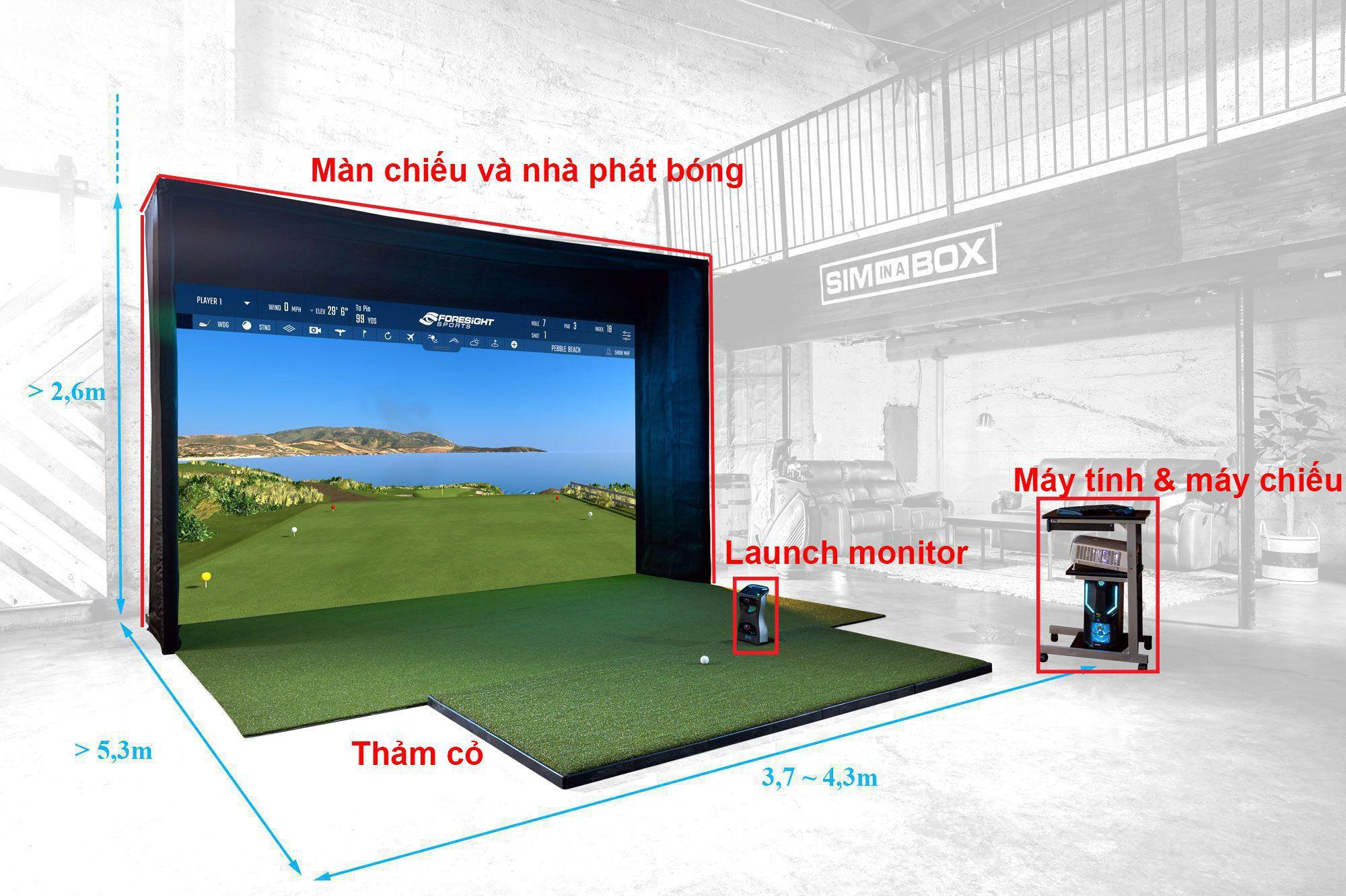 Cấu tạo phòng chơi golf 3D trong nhà