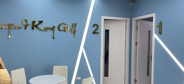 Không gian ở sảnh tiếp khách của phòng SG golf Hàn Quốc