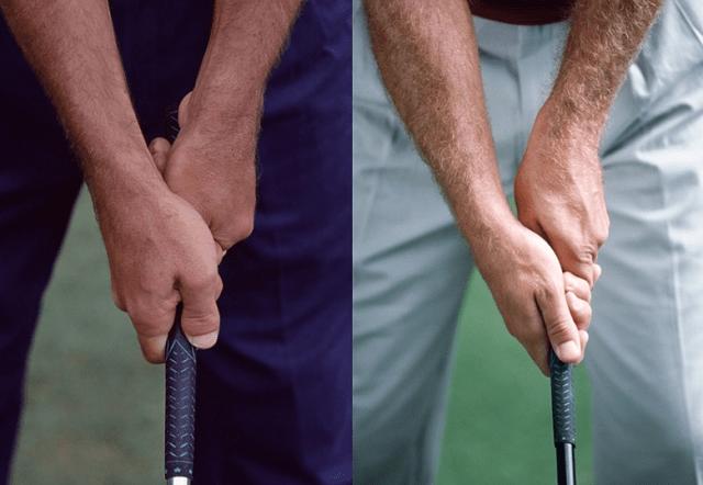 Cách cầm grip của Golfer Corey Pavin (trái) và golfer Fred Couples (phải)