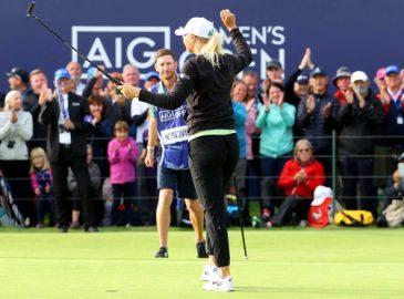 Golfer Anna Nordqvist vui mừng khi giành chức vô định