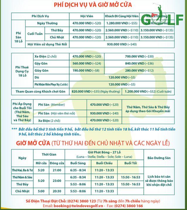 Bảng giá chơi golf ở Sân golf Twin Doves (Phú Mỹ)
